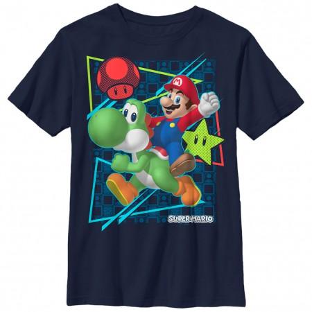 Nintendo Mario Sunday Rider Blue Unisex Youth T-Shirt