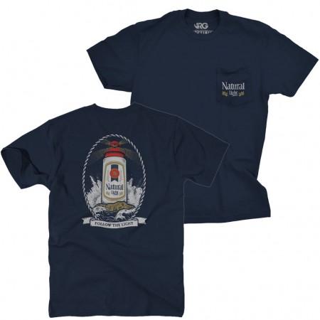Natural Light Beer Lighthouse Men's Navy Blue Pocket T-Shirt