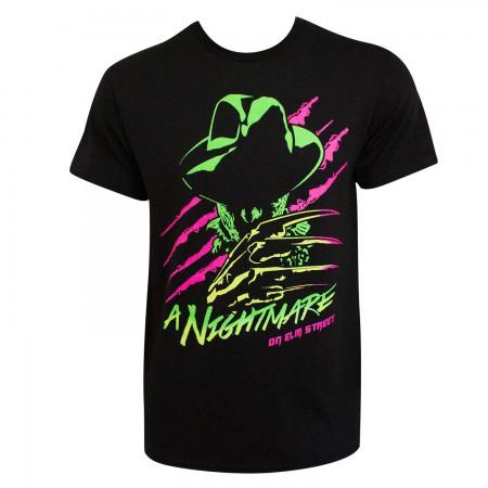Nightmare On Elm Street Freddy Neon Men's Black T-Shirt