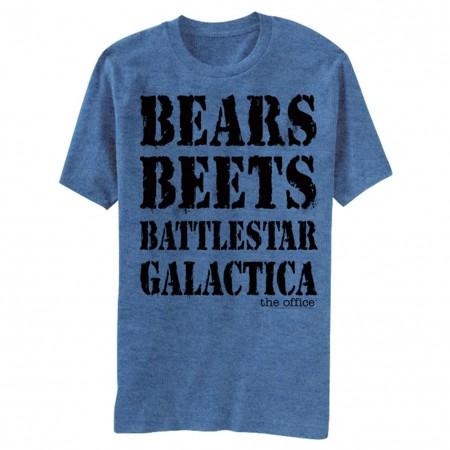 The Office Bears Beets Battlestar Galactica Men's Blue T-Shirt