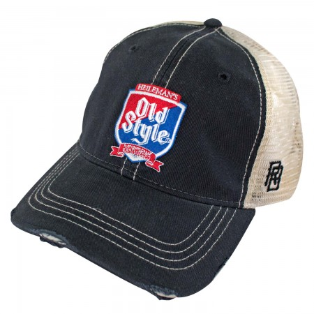Old Style Shield Retro Brand Navy Men's Trucker Hat