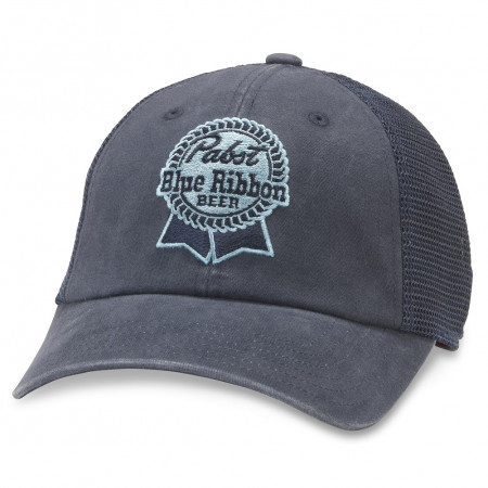 Pabst Blue Ribbon Beer Adjustable Navy Blue Snapback Mesh Trucker Hat
