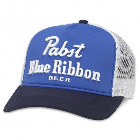 Pabst Blue Ribbon Beer Blue And White Vintage Style Adjustable Mesh Snapback Hat