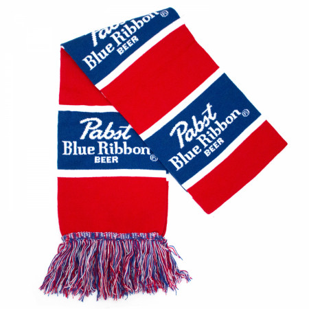 Pabst Blue Ribbon Striped Blue And Red Scarf