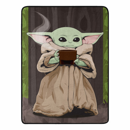 Star Wars The Child Grogu with a Quiet Soup 46in x 60in Throw Blanket