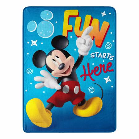 Disney Mickey Mouse Fun Starts Here 46 X 60 Silk Touch Throw