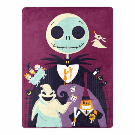 Nightmare Before Christmas Psychedelic World 46 X 60 Silk Touch Throw