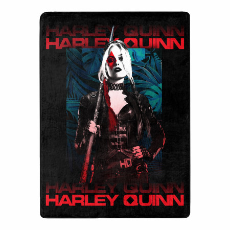 Harley Quinn Suicide Squad 2 Tropical Floral 46 X 60 Silk Touch Throw