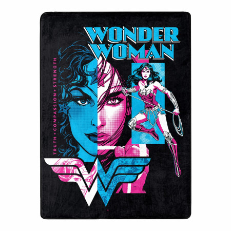 Wonder Woman Truth Compassion Strength 46 X 60 Silk Touch Throw