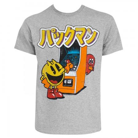 Pac-Man Men's Grey Japanese Logo T-Shirt