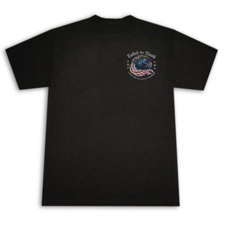Patriotic USA United We Stand Marine Corps Blac Tee Shirt