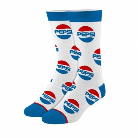 Pepsi Logos White And Blue Socks