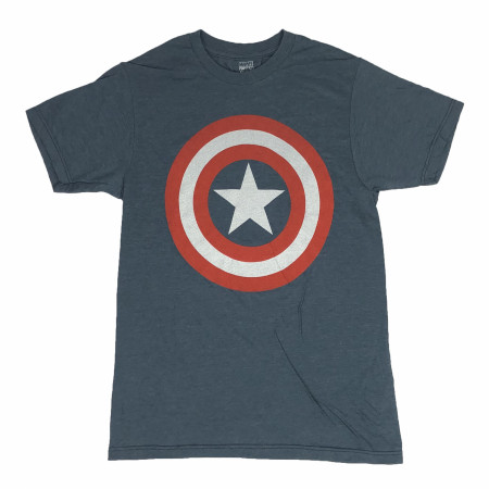 Captain America Shield Logo Heather Blue T-Shirt