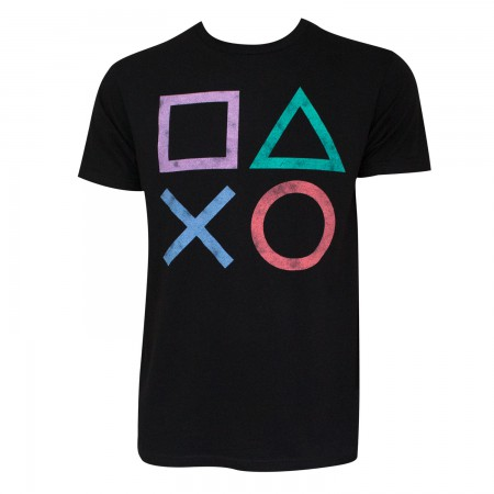 Playstation Men's Black Controller Button Logo T-Shirt