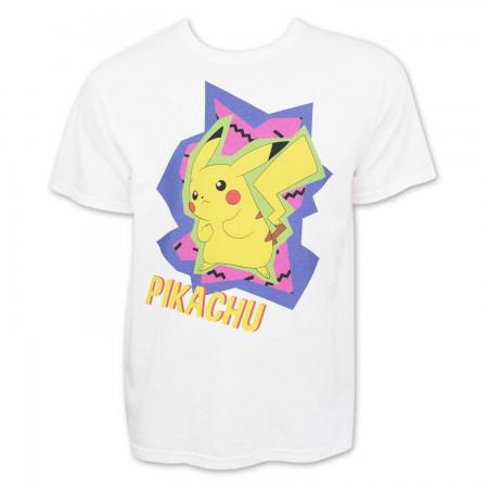 Pokemon Men's White 80's Pikachu T-Shirt