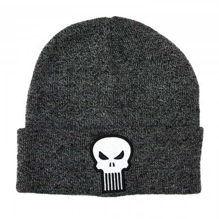 Punisher Skull Logo Grey Folded Beanie
