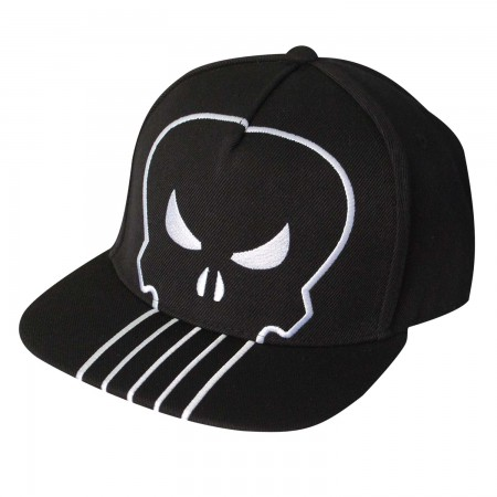 The Punisher Black Large Logo Snapback Hat