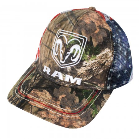 Dodge Ram Adjustable American Flag Mesh Camo Trucker Hat