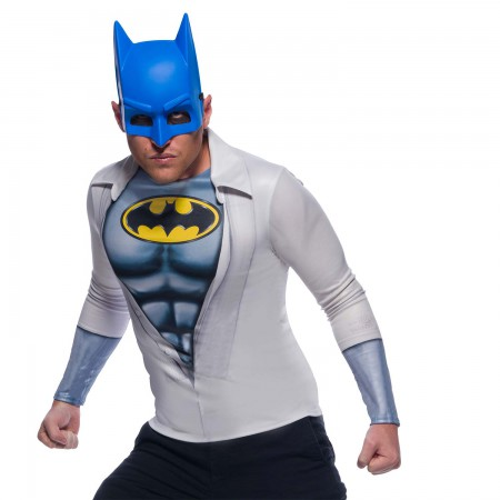 Batman Men's Costume Shirt And Mask Halloween Set
