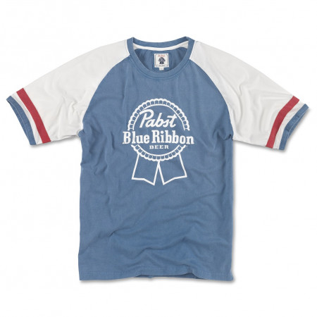 Pabst Blue Ribbon Beer Men's Blue And White Raglan T-Shirt