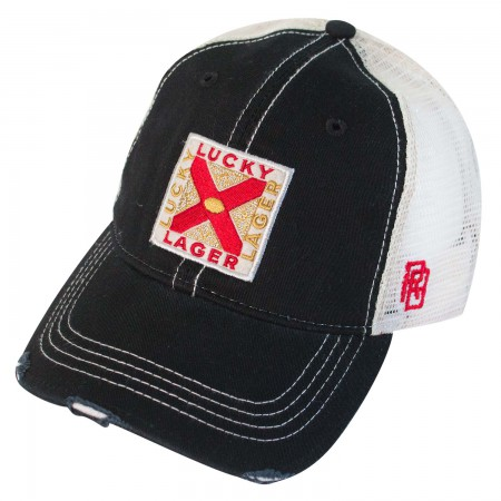 Lucky Lager Distressed Trucker Hat