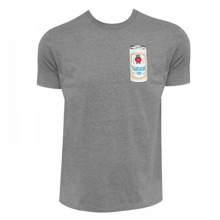 Natty Light Men's Grey Rowdy Gentleman Throwback Vintage Can T-Shirt
