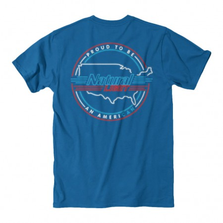 Natty Light Rowdy Gentleman Proud American Blue Tee Shirt