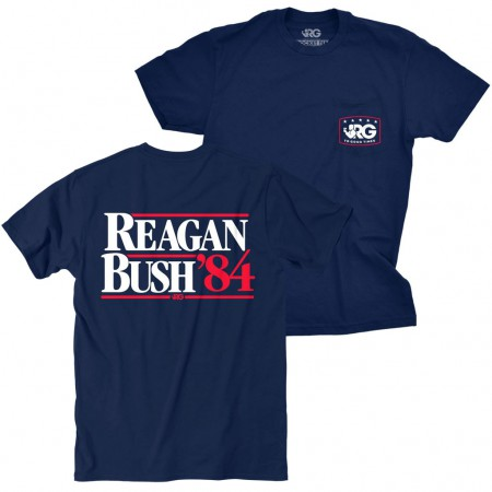 Reagan Bush 84 Rowdy Gentleman Navy Blue Tee Shirt