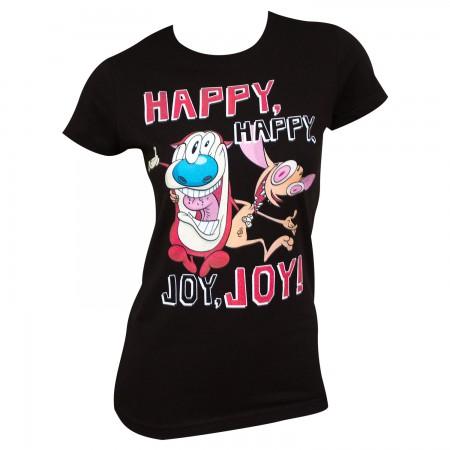 Ren And Stimpy Women's Black Happy Happy Joy Joy T-Shirt