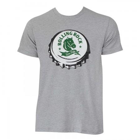 Rolling Rock Men's Grey Bottle Cap T-Shirt