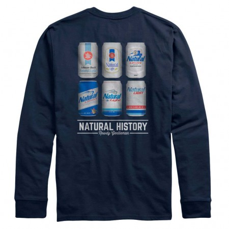 Natural Light Natty History Rowdy Gentleman Long Sleeve Navy Blue Tee Shirt
