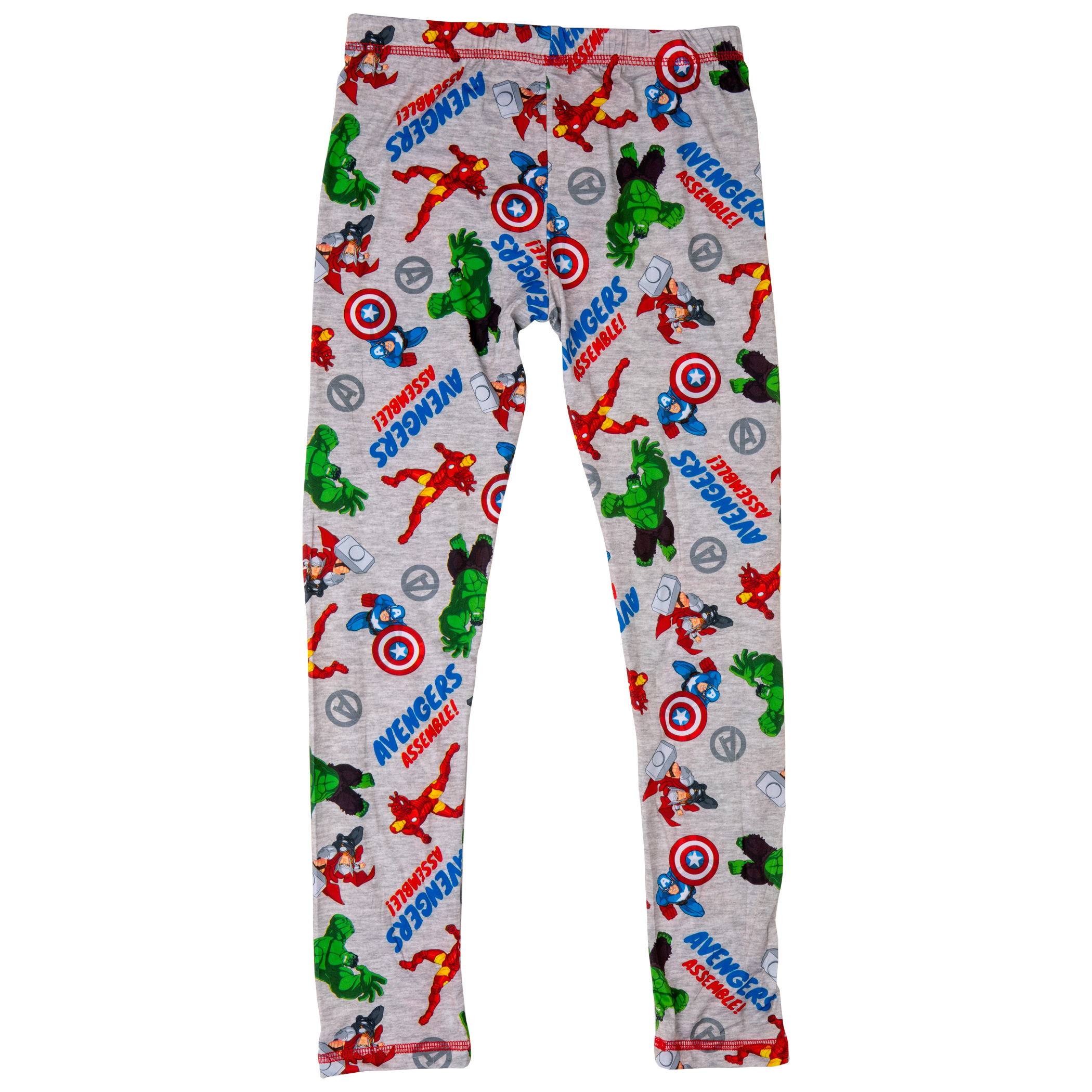 Avengers Characters All Over Print 2-Piece Youth Grey Pajama Set