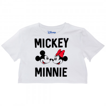 Disney Mickey and Minnie Mouse Faces and Text Crop Top Tee