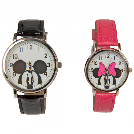 Mickey and Minnie Mouse Black & Pink His & Hers Watch Set