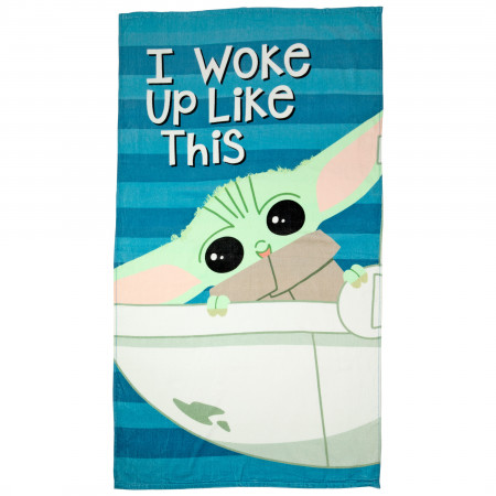 Star Wars Mandalorian The Child Grogu Woke Up Like This Beach Towel