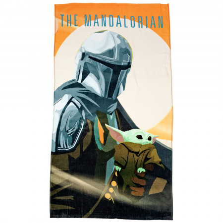 Star Wars The Mandalorian and The Child Grogu Beach Towel