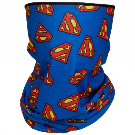 Superman Stacked Logos Full Face Mask Gaiter Tubular Bandana