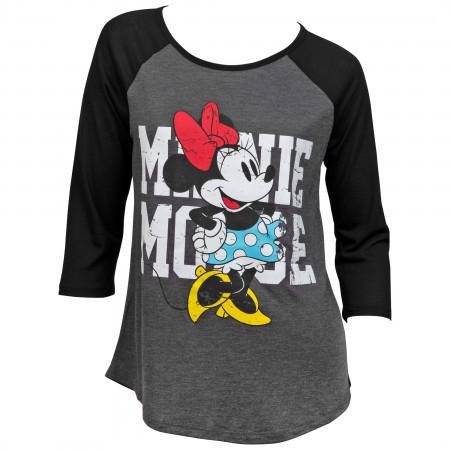 Disney's Minnie Mouse Character Charcoal Heather 3/4 Sleeve Raglan Tee