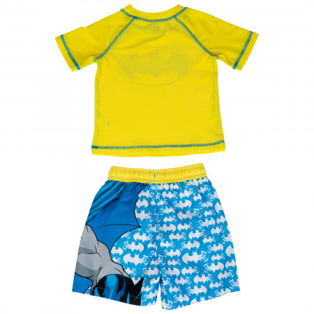Batman The Dark Knight Toddler Swim Trunks and Rashguard Set