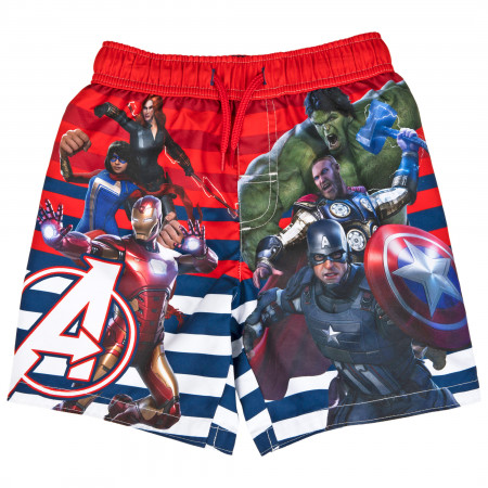 Marvel Avengers Gamerverse Symbol and Team Youth Swim Trunks