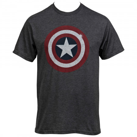 Captain America Distressed Shield Grey T-Shirt
