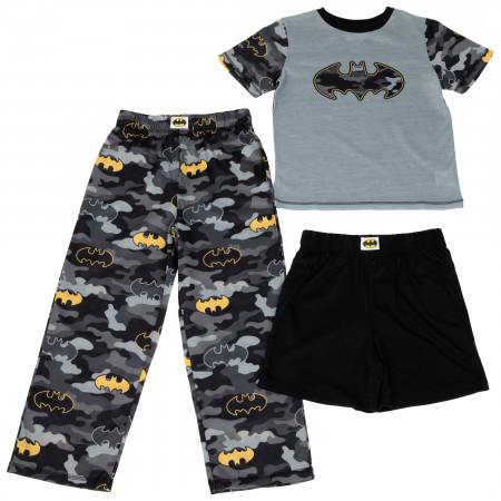 Batman Camouflage Symbols Boy's 3 Piece Pajama Set