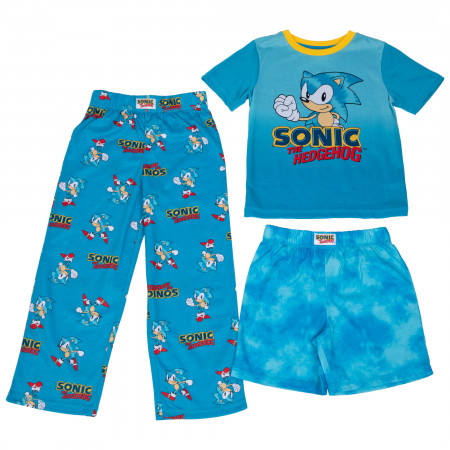 Sonic The Hedgehog Boy's 3 Piece Pajama Set