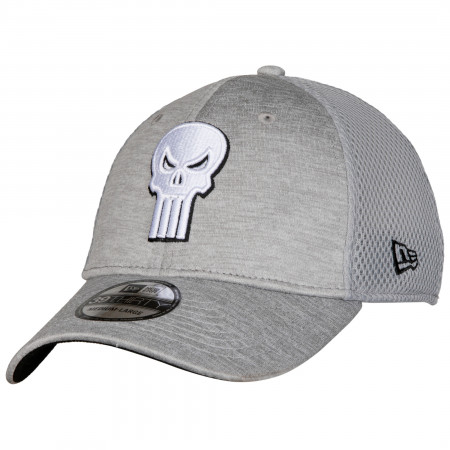 Punisher Skull Symbol Grey Shadow Tech New Era 39Thirty Fitted Hat
