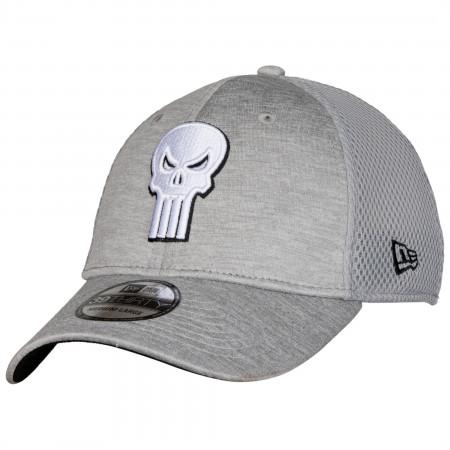 Punisher Skull Symbol Grey Shadow Tech New Era 39Thirty Fitted Hat
