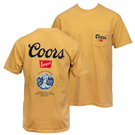 Coors Banquet Old Gold Front and Back Print Pocket Tee