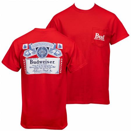 Budweiser Bottle Label Front and Back Print Pocket Tee