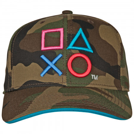 Playstation Embroidered Camo Pre-Curved Snapback
