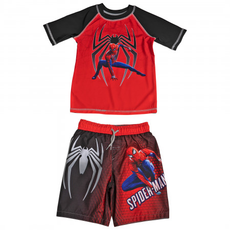 Spider-man Gamerverse Symbol Youth Swim Trunks and Rashguard