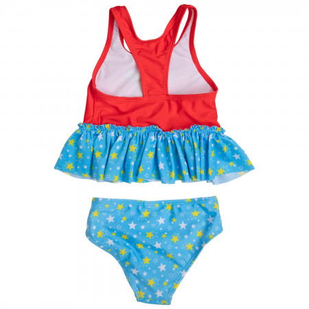 Wonder Woman Symbol and Stars Toddler Tankini Set Swimsuit
